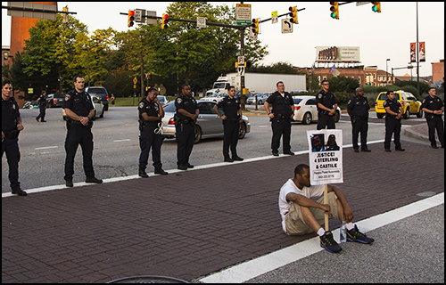 Lone protester