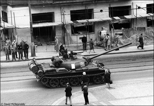 Tank in Prague street
